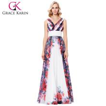 Grace Karin 2017 sin mangas de gas del V-cuello patrón de flor largo vestido de fiesta de noche 7 Tamaño EE.UU. 4 ~ 16 GK000133-1