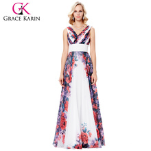 Grace Karin 2017 Sleeveless V-Neck Chiffon Flower Pattern Long Evening Party Dress 7 Size US 4~16 GK000133-1