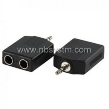 3.5mm stereo plug male to 2x 6.35mm jack female adapter
