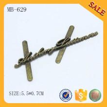 MB629 Latón antiguo alfabeto letra metal logo para el bolso