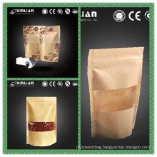 gravure printing kraft paper bags with window and zipper
