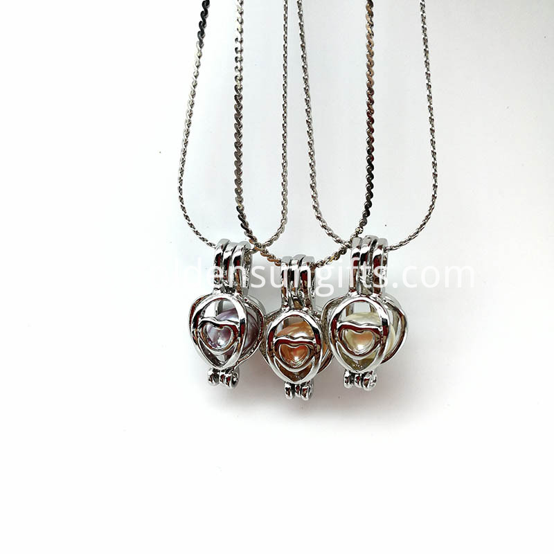 Heart Cage Locket Pendant Necklace