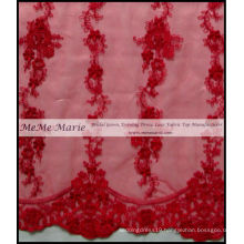 3D Cord Embroidery Red Lace Fabric 52'' No.CA342