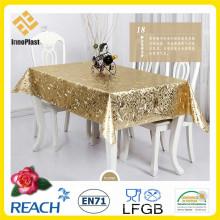 Vinil / PVC Dourado e Emboss Toalha de Mesa em Rolo