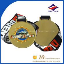 Personalizar y diseñar forma redonda de oro de la universidad de oro medallas