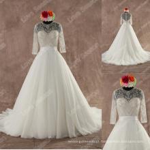 LS0129 Real meia manga casamento cerimônia de cristal de peça central de costura em contas de cristal decote arranjado organza saia vestido de baile casamento
