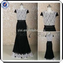 RSE210 sirena de encaje de manga corta vestido de dama de honor blanco y negro de dos colores