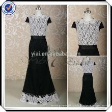 RSE210 Русалка кружева с коротким рукавом Черное и белое платье невесты два цвета