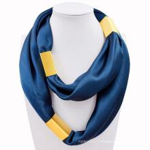 Meilleure vente cravate impression plaine carré infini bijoux en métal écharpe