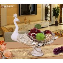 Westlichen Stil Haushalt decrative Waren Harz Handwerk Pfau Obst Platte Obst Schale Obst Tablett