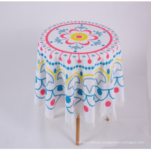 toalha de mesa redonda de impressão em poliéster usada