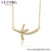44512 gros mode bijoux religion collier 18 k or couleur croix collier pour les femmes