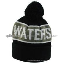 Popular rayas Jacquard pun ¢ o POM esquí de punto gorrito Beanie Hat (TMK0190-1)