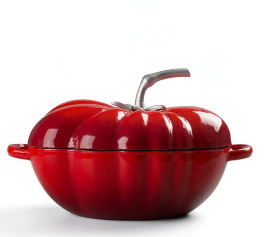new design enamel cast iron tomato shape pot