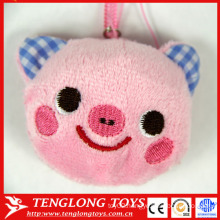 Animal head shape screen cleaner sutffed plush pig keychain
