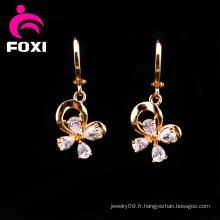 Boucles d'oreilles pendantes plaquées or jaune fleur
