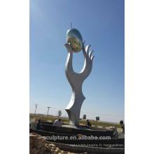 Arabie saoudite, olive, moderne, extérieur, métal, sculpture, tenue, mains, arts