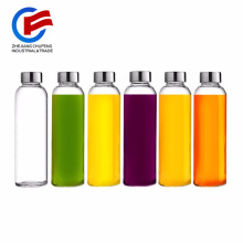 Brieftons Glass Water Bottles18 Oz Stainless Steel Leak-Proof Lid, Premium Soda Lime, Best As Reusable Drinking Bottle