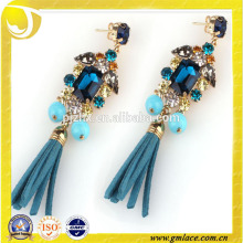 Beaded Blue Leather Tassel for Earring