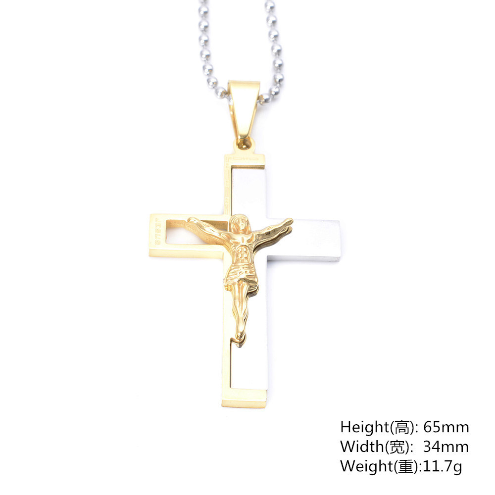Mens Gold Plated Custom Cross Pendant Jesus Pendant