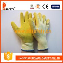 Guantes de trabajo recubiertos de látex amarillo de concha de algodón blanco (DKL323)