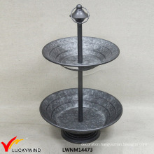 Luckywind 2 Plates Cake Stand Metal Tray