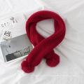 Reine Farbe Winter warme Halstuch mit Kunstpelz Pom Poms Wollgarn gestrickt Schal