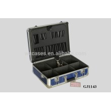 blue Aluminum Tool Case With Fold-down tool pallet&Adjustable Compartments Inside