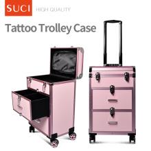 Portable Pratique Outil de tatouage Voyage Transportant Boîte Cas Trolley Trousse Cosmétique