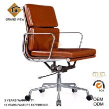 Couro marrom alumínio clássica cadeira do gerente (GV-EA217)