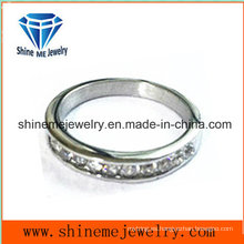 Joyas de acero inoxidable anillo incrustado CZ anillo