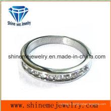 Bague en acier inoxydable en acier inoxydable avec anneau en cz