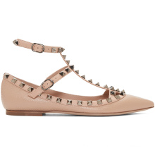 Grained and buffed leather cage ladies shoes women casual flat shoes adjustable ankle straps with pin-buckle closure