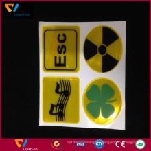 China Fabrik benutzerdefinierte hochwertige fluoreszierende gelbe 0,4 mm Dicke selbst-adesive 3m reflektierende PVC Aufkleber