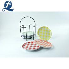 Venda quente personalizado em casa talheres rodada prato de manteiga de cerâmica