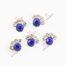 Blue Rhinestone Dog Paw Charms (FC)
