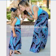 2017 sommer blume gedruckt schönheit Baumwolle Mutter und Tochter Maxi Crewneck Kleid Mama und Ich Frauen Mädchen Kleider