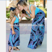 2017 verano flor impresa belleza algodón madre e hija Maxi cuello redondo vestido mami y yo mujeres niñas vestidos