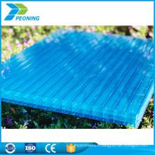Prix d'usine makrolon materil quatre carreaux murs en polycarbonate teinte bleue en plastique en nid d'abeille