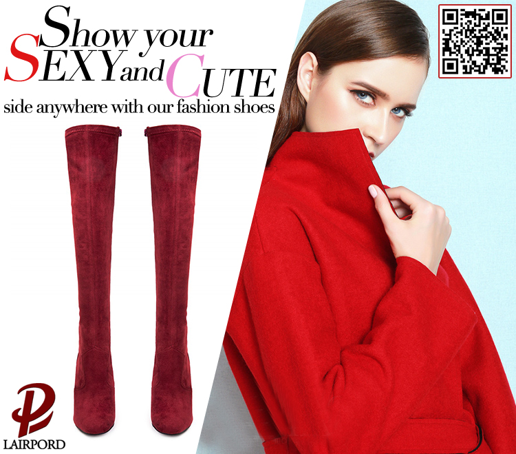 black wine red women long sexy boots