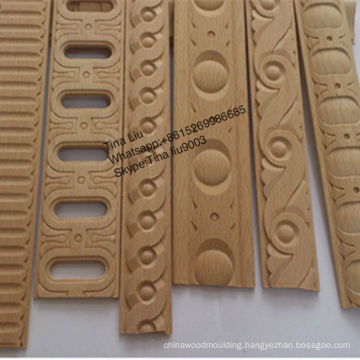 Home Decoration Beech Solid Wood Carved Full Egg Moulding