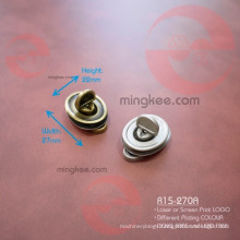Zinc Alloy Metal Oval Turn Lock for Purse