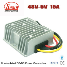Conversor de 48VDC a 5VDC 15A 75W DC-DC com IP68 impermeável