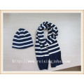 teenager strip knitted hat and scarf set