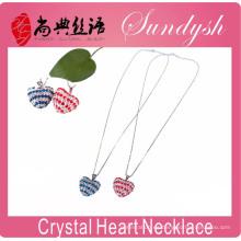Collar del corazón del amor Collar del corazón del día de San Valentín Collar del corazón del amor del Rhinestone cristalino de la plata