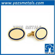 mancuernas metálicas personalizadas, abotoaduras de vérmeira com borda azul de alta qualidade personalizadas