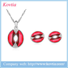 2016 jóias conjunto vermelho boca charme colar e brincos conjunto atacado guangzhou jóias
