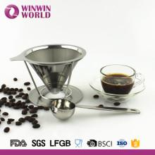 Filtro de café de aço inoxidável de venda quente reusável da parede dobro