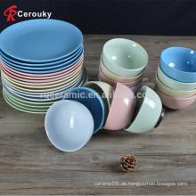 Heiße verkaufende schlichte keramische Schüssel und Platte, kundenspezifische Porzellan-Schüssel ang Platte
