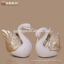 electroplate resin swan statue in rose gold silver color for wedding decor